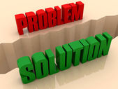 Two words PROBLEM and SOLUTION split on sides, separation crack. Concept 3D illustration. — Stock Photo
