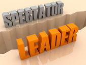 Two words SPECTATOR and LEADER split on sides, separation crack. Concept 3D illustration. — Stock Photo