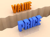 Two words VALUE and PRICE split on sides, separation crack. Concept 3D illustration. — Stock Photo