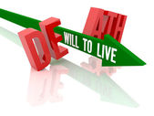 Arrow with phrase Will to Live breaks word Death. Concept 3D illustration. — Stock Photo
