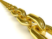 Golden chain over white background. 3D Concept illustration. — Stock Photo