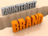 Two words COUNTERFEIT and BRAND split on sides, separation crack. Concept 3D illustration. — Stock Photo