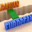 Stock Photo: Two words ARABIAN and EUROPEAN united by bridge through separation crack. Concept 3D illustration.