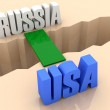 Two words RUSSIA and USA united by bridge through separation crack. Concept 3D illustration. — Stock Photo