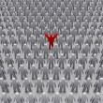 Unique person in crowd. Concept 3D illustration — Stock Photo #24104677