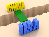 Two countries CHINA and USA united by bridge through separation crack. Concept 3D illustration. — Stock Photo