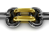 Double gold chain link. Concept 3D illustration. — Stock Photo