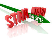 Pijl met zin nieuwe stijl einden word standaard. concept 3d illustratie. — Stockfoto