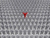 Unique person in crowd. Concept 3D illustration — Stock Photo