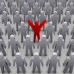 Unique person in crowd. Concept 3D illustration — Stock Photo #24715833