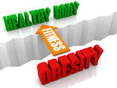 Fitness is the bridge from OBESITY to HEALTHY BODY. Concept 3D illustration. — Stock Photo