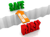 Right protection is the bridge from RISK to SAFE. Concept 3D illustration. — Stock Photo