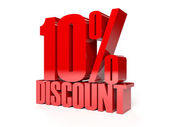 10 percent discount. Red shiny text. Concept 3D illustration. — Stock Photo