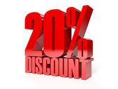 20 percent discount. Red shiny text. Concept 3D illustration. — Stock Photo