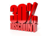 30 percent discount. Red shiny text. Concept 3D illustration. — Stock Photo