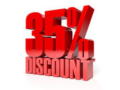 35 percent discount. Red shiny text. Concept 3D illustration. — Stock Photo