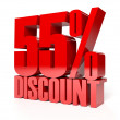 55 percent discount. Red shiny text. Concept 3D illustration. — Stock Photo