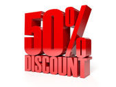 50 percent discount. Red shiny text. Concept 3D illustration. — Stock Photo