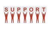 Muži drží slovo podporu. koncept 3d ilustrace. — Stock fotografie