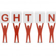 Men holding the word fighting. Concept 3D illustration. — Stock Photo #26105825