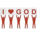 Men holding the phrase i love god. Concept 3D illustration. — Stock Photo