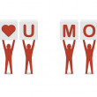 Men holding phrase i love you mom. Concept 3D illustration. — Stock Photo #26106109