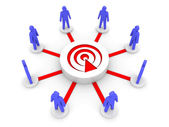 Team uitgezonden. podcast luisteraars. concept 3d illustratie. — Stockfoto