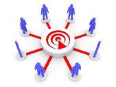 Trasmissione in squadra. ascoltatori di podcast. illustrazione 3d concetto. — Foto Stock