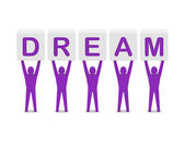 Men holding the word dream. Concept 3D illustration. — ストック写真