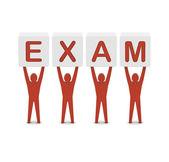 Men holding the word exam. Concept 3D illustration. — Stock Photo