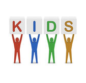 Men holding the word kids. Concept 3D illustration. — Stock Photo