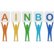 Men holding the word rainbow. Concept 3D illustration. — Stock Photo