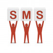 Stock Photo: Men holding word SMS. Concept 3D illustration.