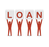 Men holding the word loan. Concept 3D illustration. — Stock Photo