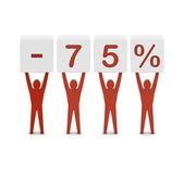 Men holding minus 75 percent. Concept 3D illustration. — Stok fotoğraf