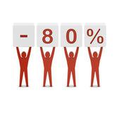 Men holding minus 80 percent. Concept 3D illustration. — 图库照片
