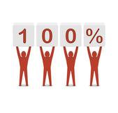 Men holding 100 percent. Concept 3D illustration. — 图库照片
