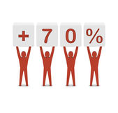 Men holding plus 70 percent. Concept 3D illustration. — ストック写真