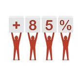Men holding plus 85 percent. Concept 3D illustration. — ストック写真
