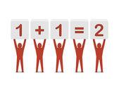 Hombres sosteniendo la matemática simple. ilustración 3d concepto. — Foto de Stock