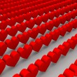 Red hearts. Concept 3D illustration. — Stock Photo