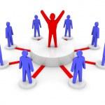 Team leader. Company boss. Teamwork. Concept 3D illustration — Stock Photo #27000631