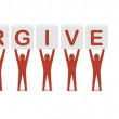 Men holding the phrase forgive me. Concept 3D illustration. — Stock Photo