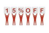 Discount. 15 percent off. Concept 3D illustration. — Stock Photo