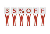 Discount. 35 percent off. Concept 3D illustration. — Stock Photo