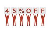 Discount. 45 percent off. Concept 3D illustration. — Stock Photo