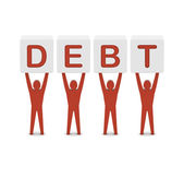 Men holding the word debt. Concept 3D illustration. — Stock Photo