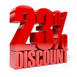 23 percent discount. Red shiny text. Concept 3D illustration. — Stock Photo