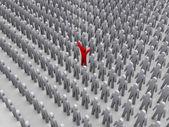 Unique person in crowd. Concept 3D illustration — Stock Photo