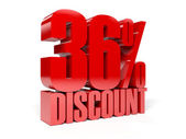 36 percent discount. Red shiny text. Concept 3D illustration. — Stock Photo